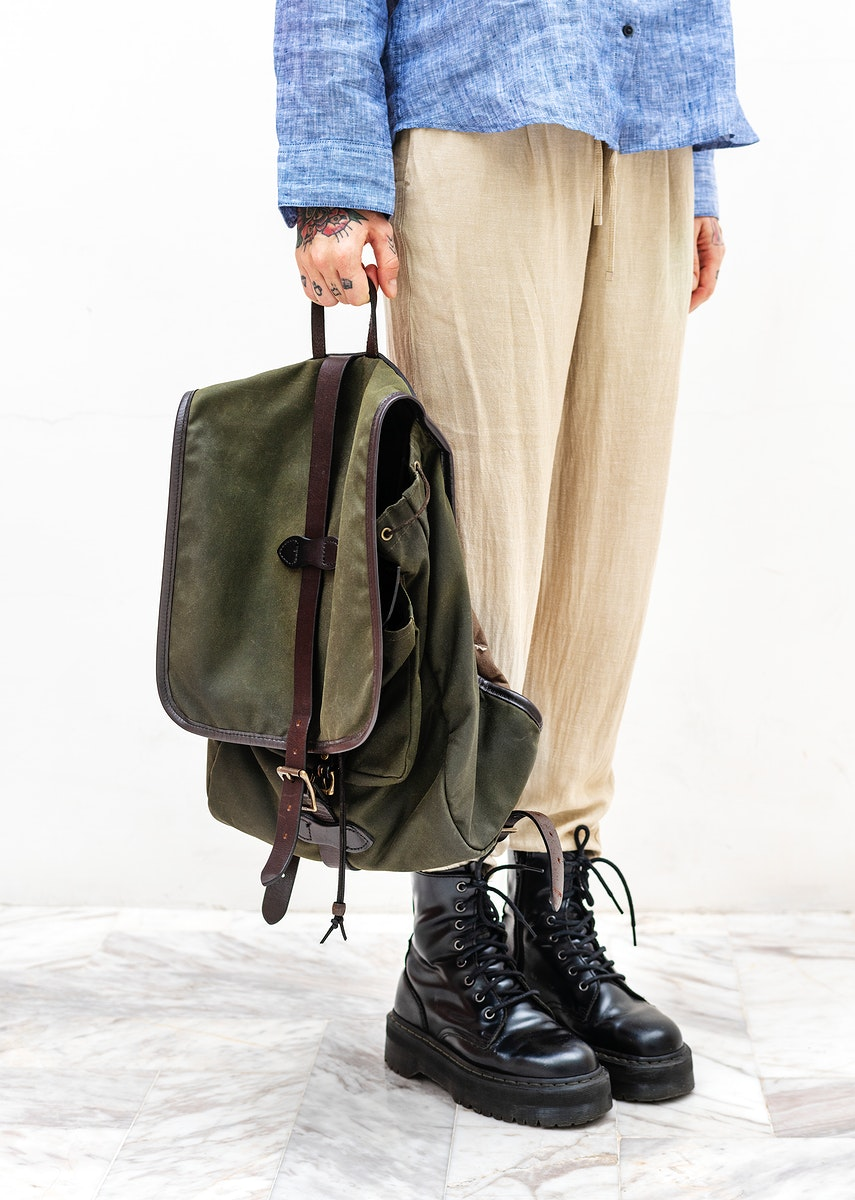 Casual woman carrying a backpack