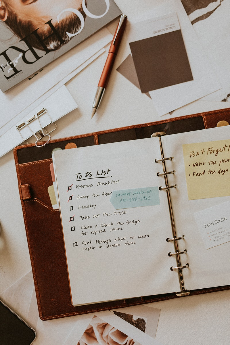 To do list notebook mockup planner