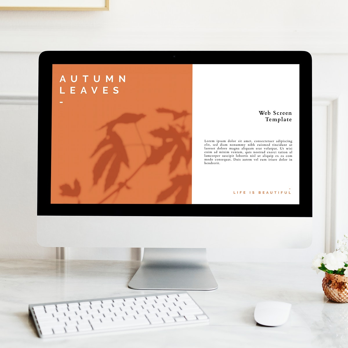 Computer screen mockup in a minimal design office