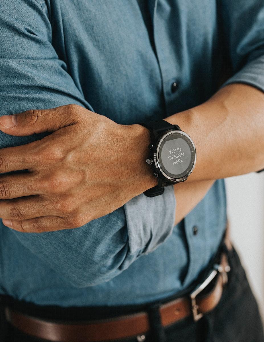 Closeup of a smartwatch on a man's wrist mockup