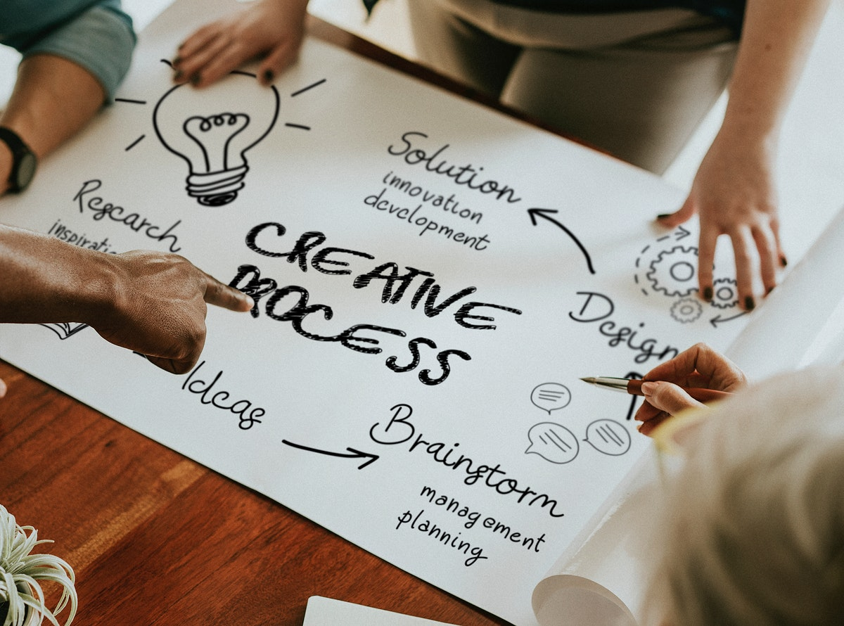 Business people doing creative business on a paper mockup