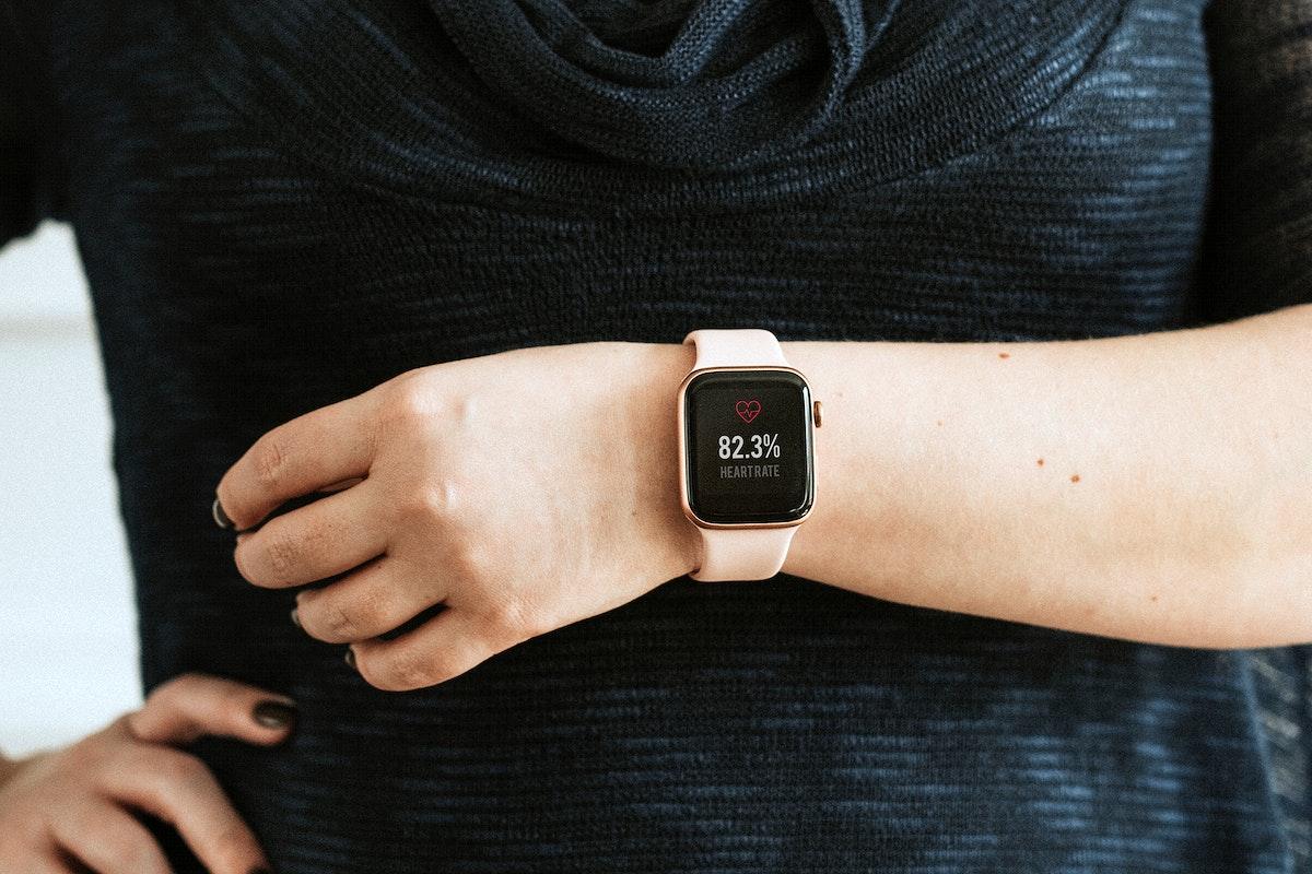 Closeup of a pink smartwatch mockup