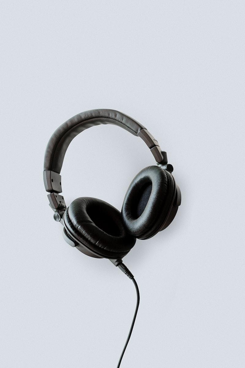 Black headphones on a white table