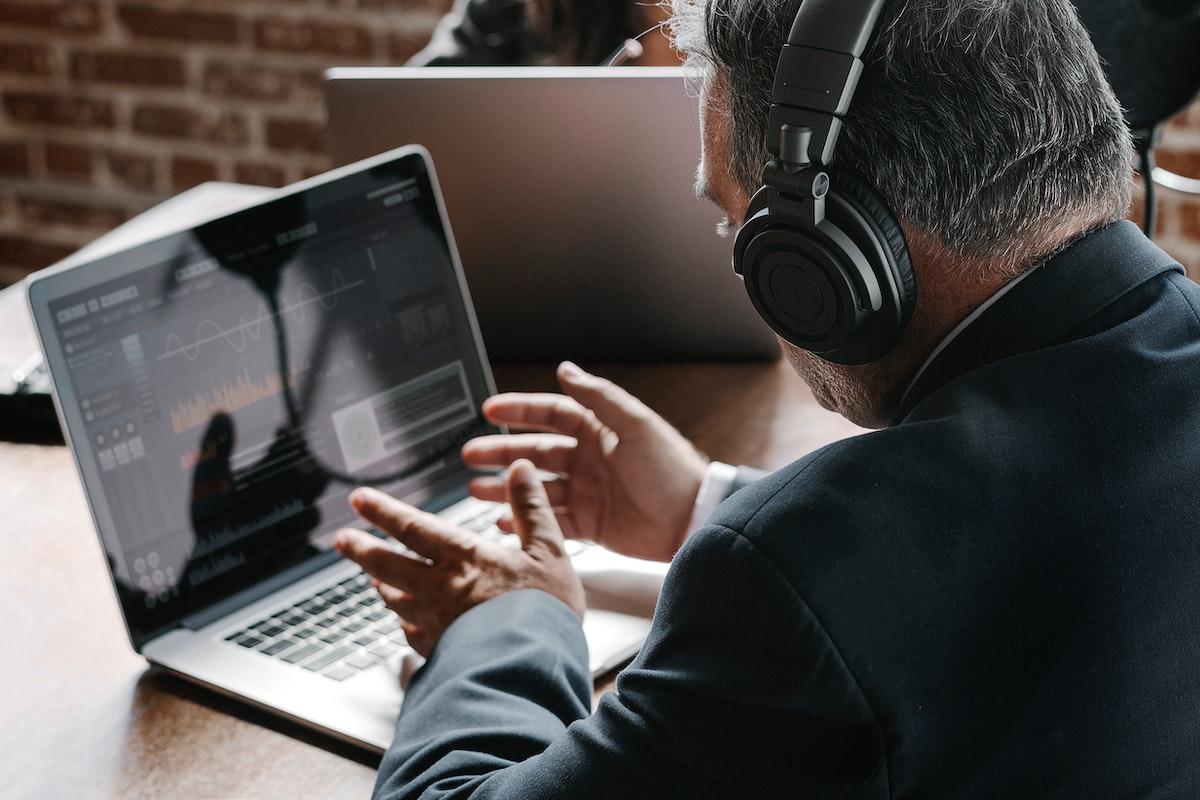Broadcaster live in a studio