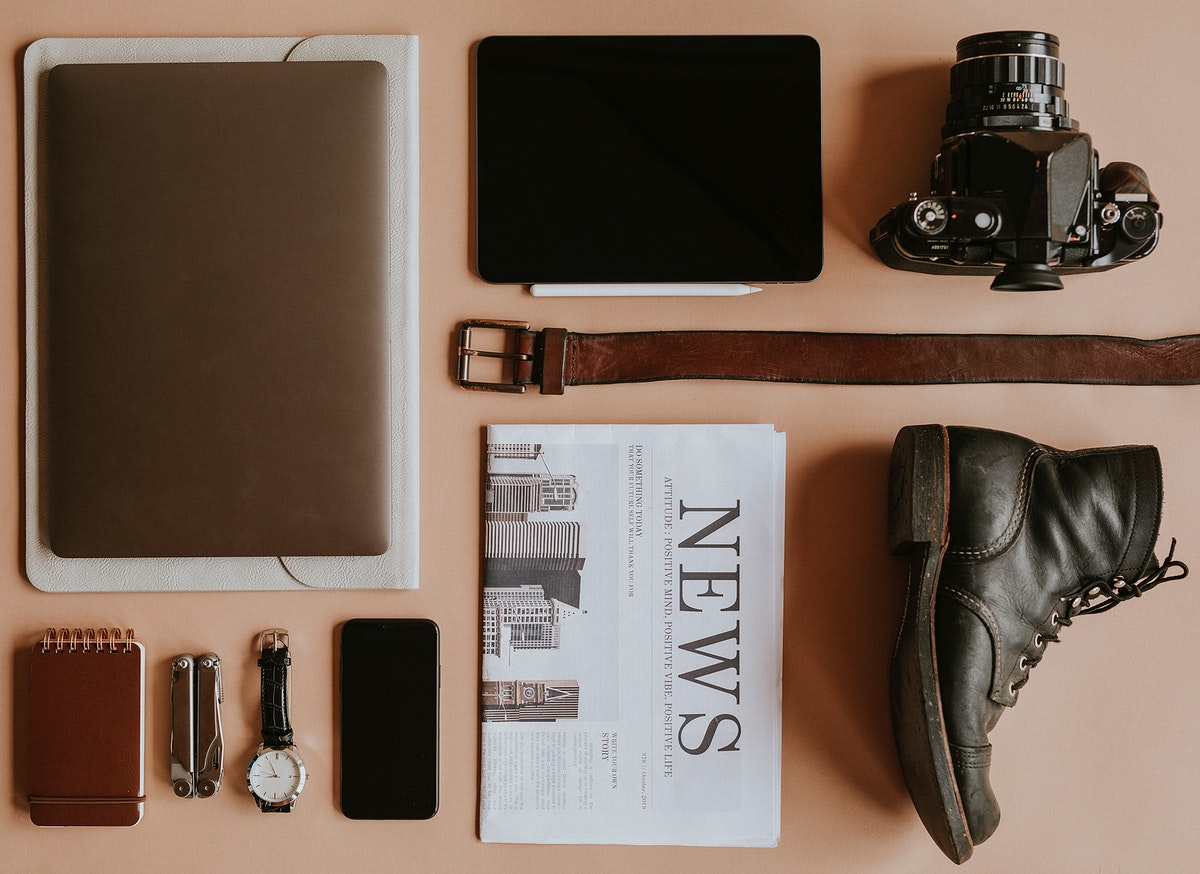 Digital device mockup with daily essential set