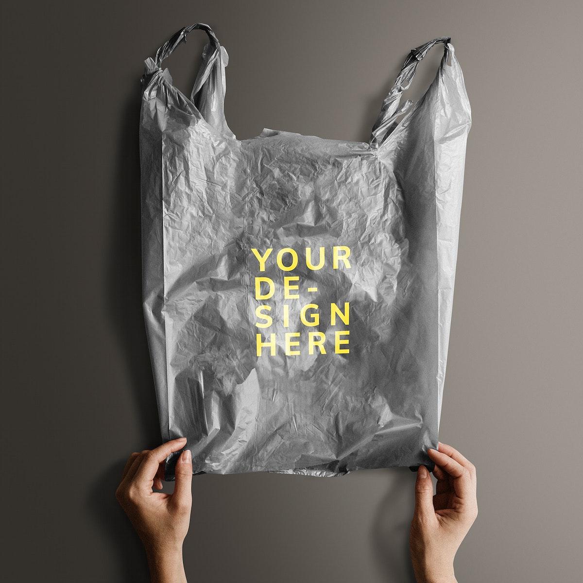 Gray your design here plastic bag mockup