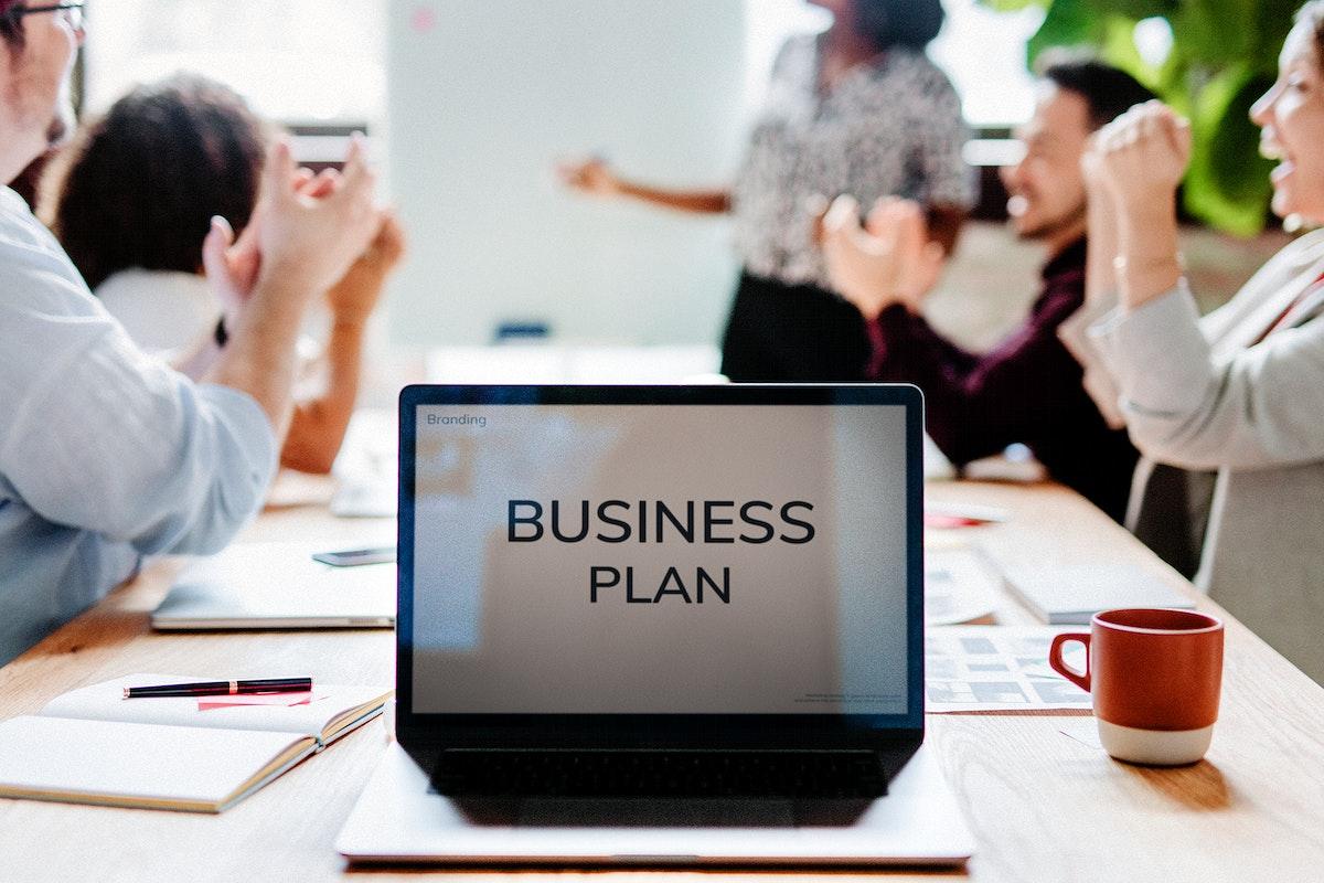 Business plan on a laptop screen