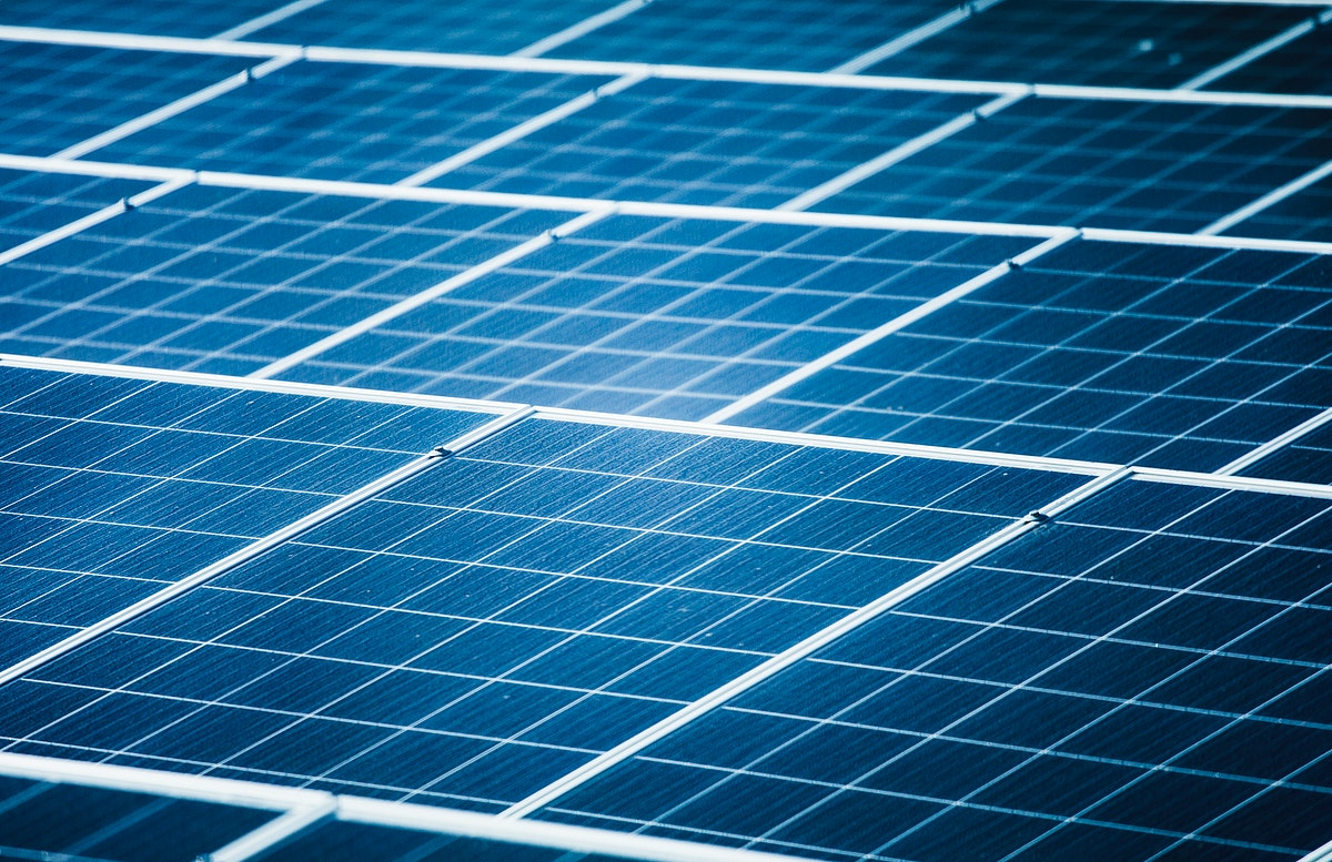 Closeup of photovoltaic power plants
