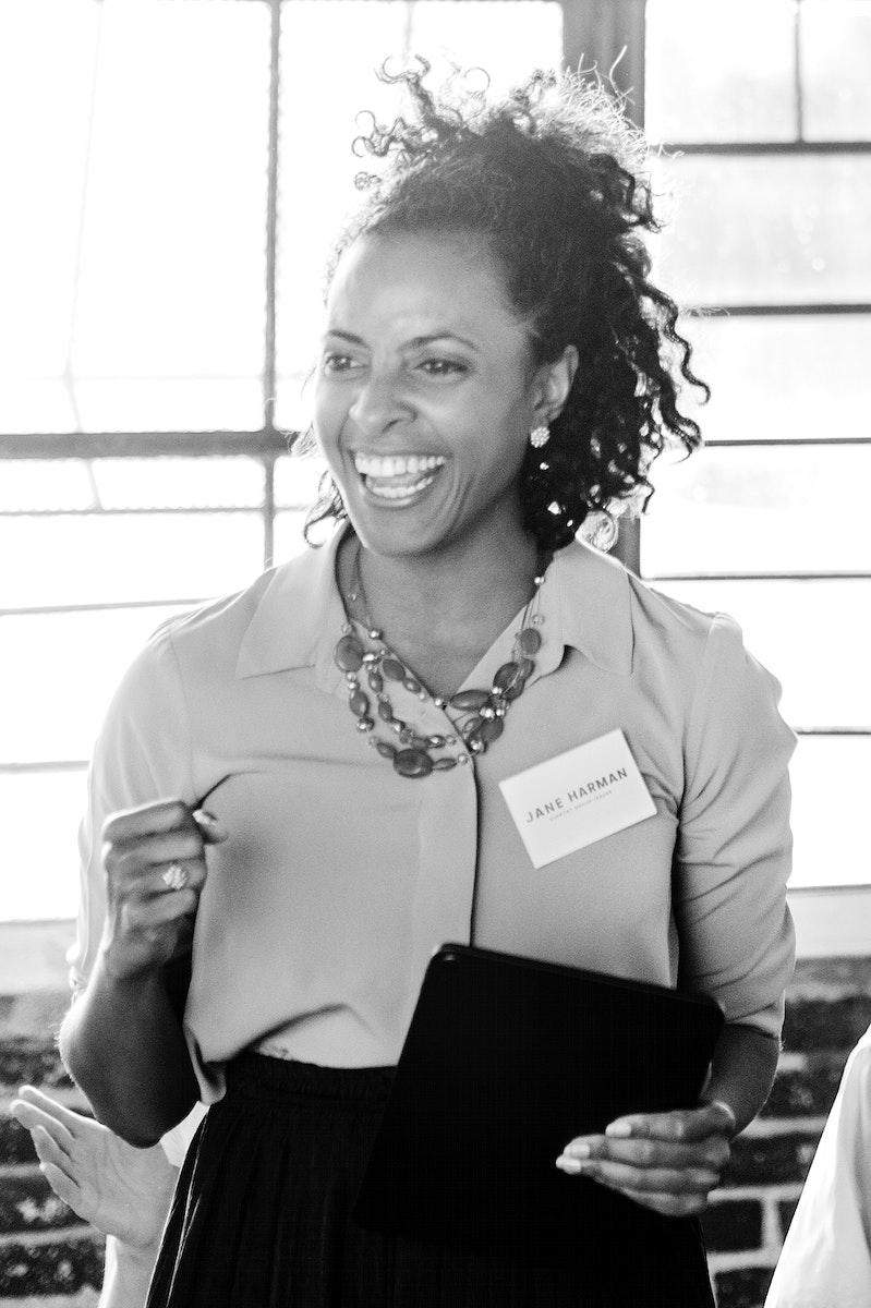 Cheerful businesswoman in a seminar