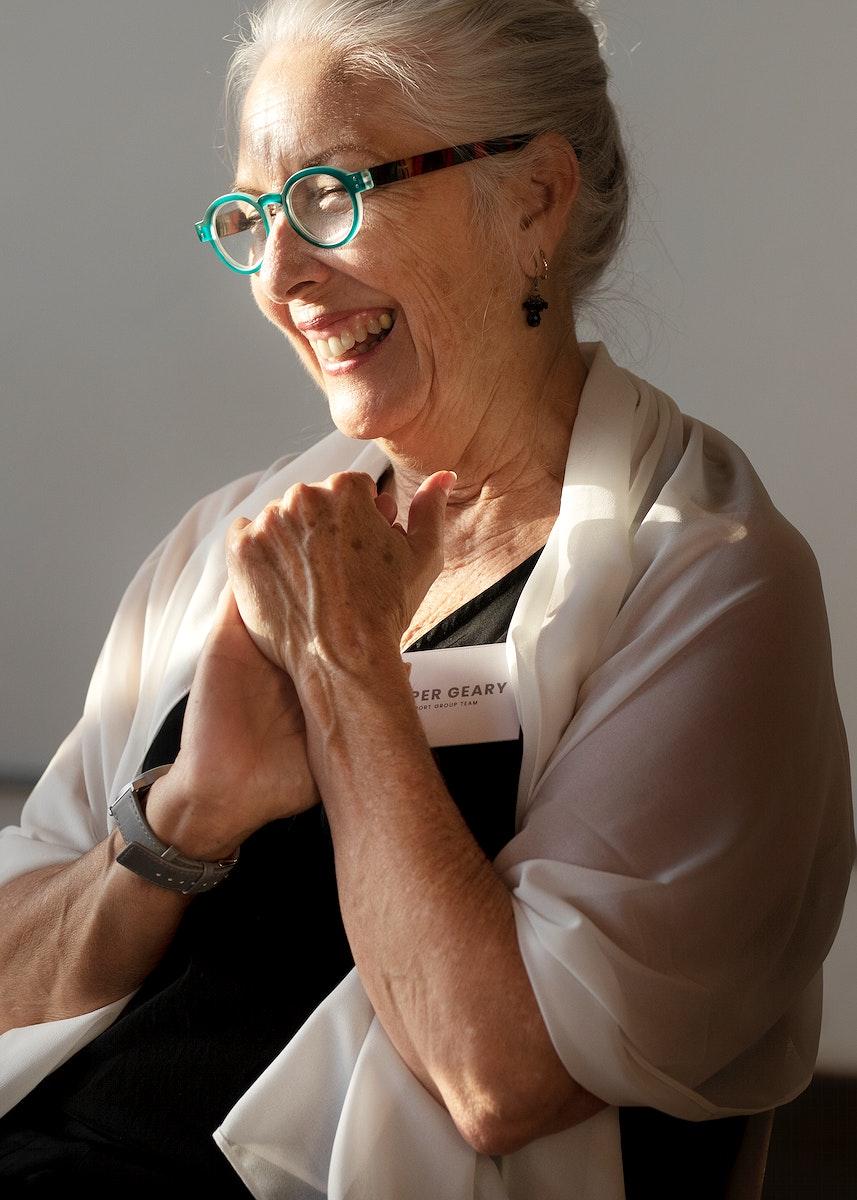 Cheerful senior businesswoman is smiling