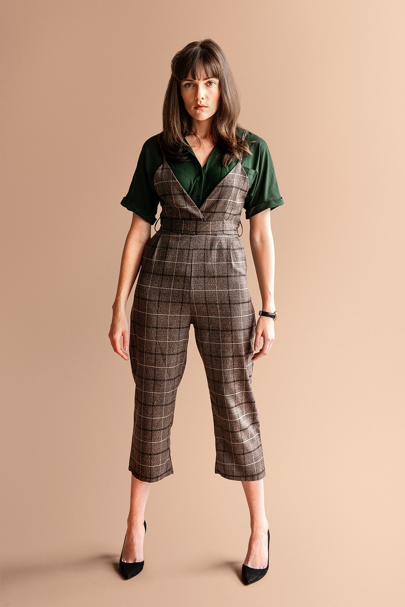 Model in a plaid jumpsuit mockup
