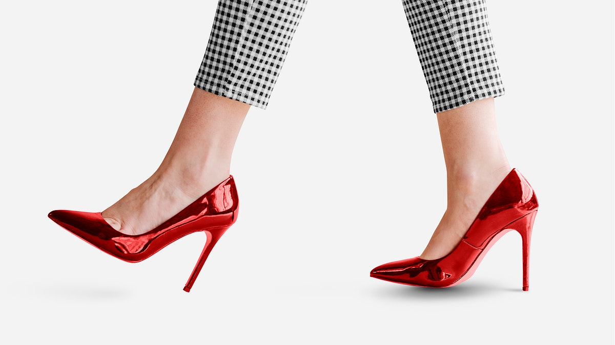Fashionable woman in red shiny heels mockup