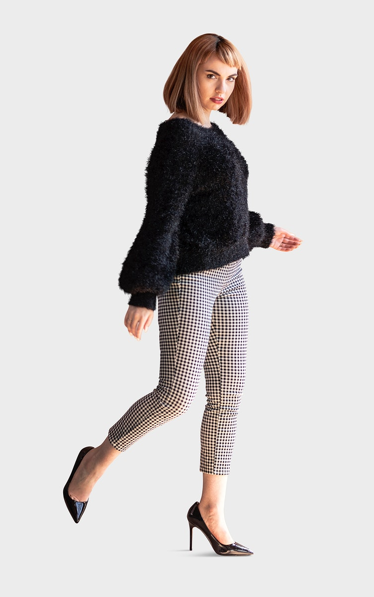 Woman in a fluffy sweater posing mockup