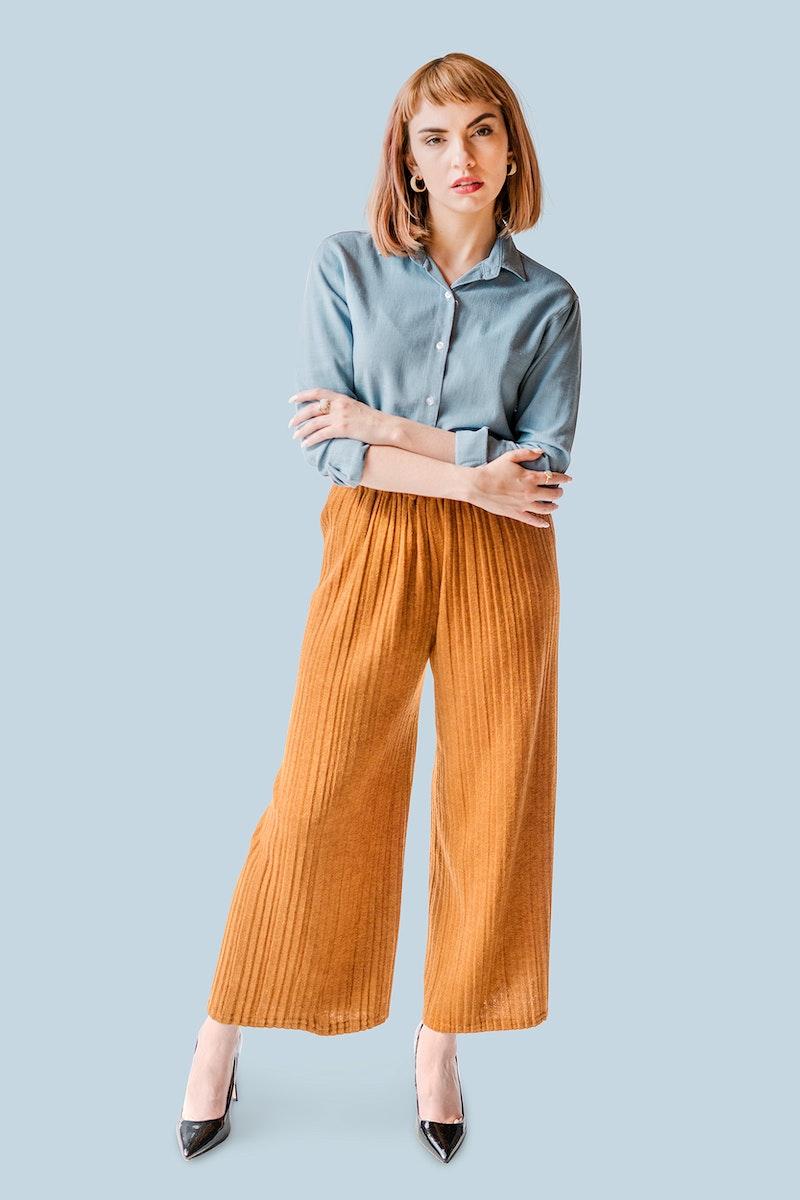 Short brown hair woman in a denim shirt mockup