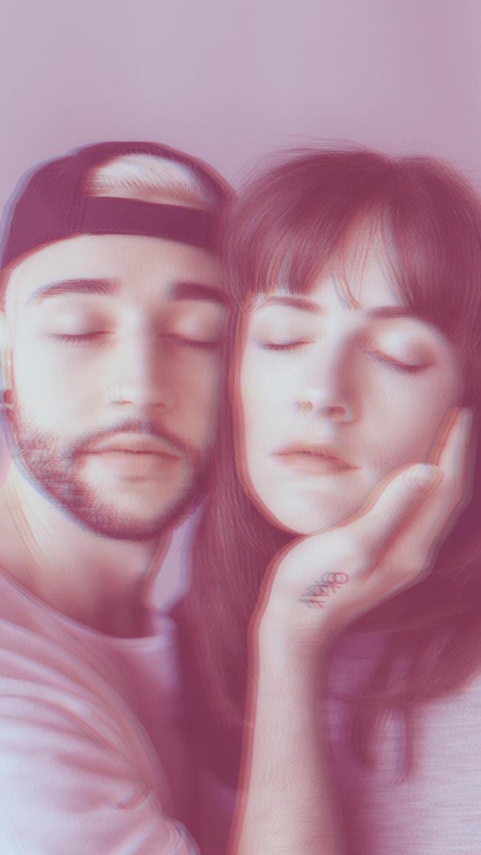 Man touching woman face filter effect mobile phone wallpaper