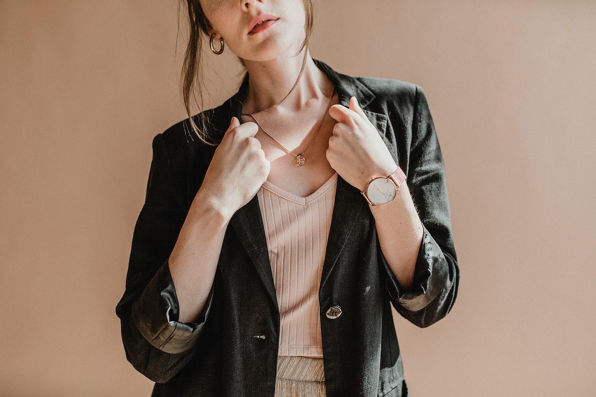 Casual woman in a black blazer