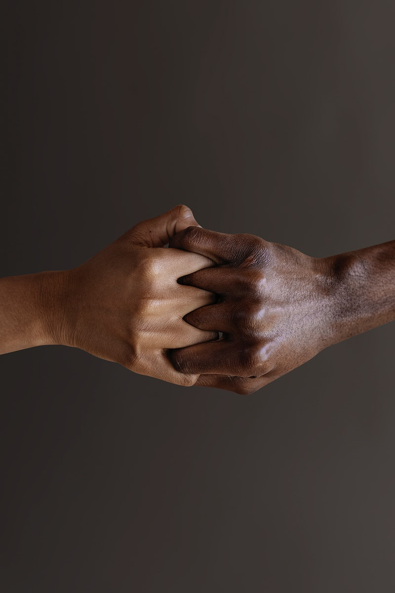 Holding hands gesture on brown background mockup