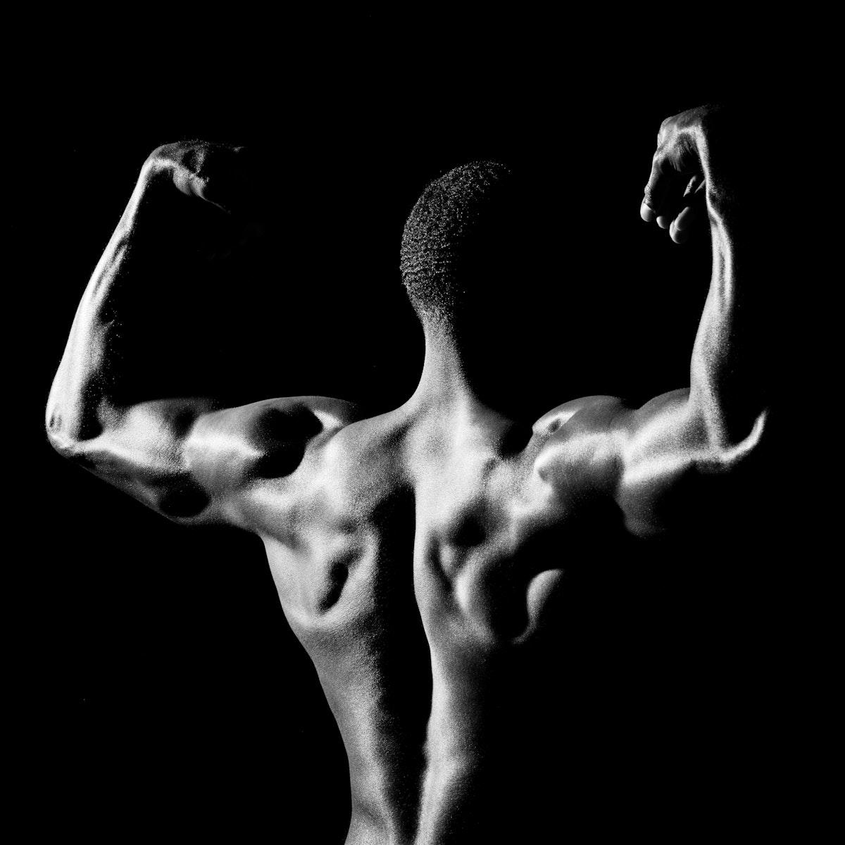 Rear view of muscular black man social template