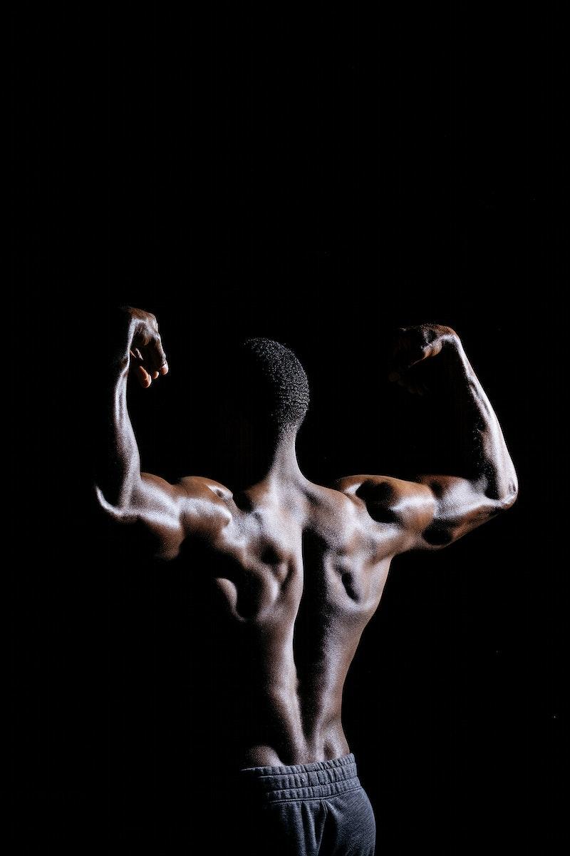 Rear view of muscular black man