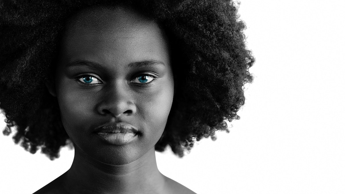 Beautiful naked black woman with afro hair social template