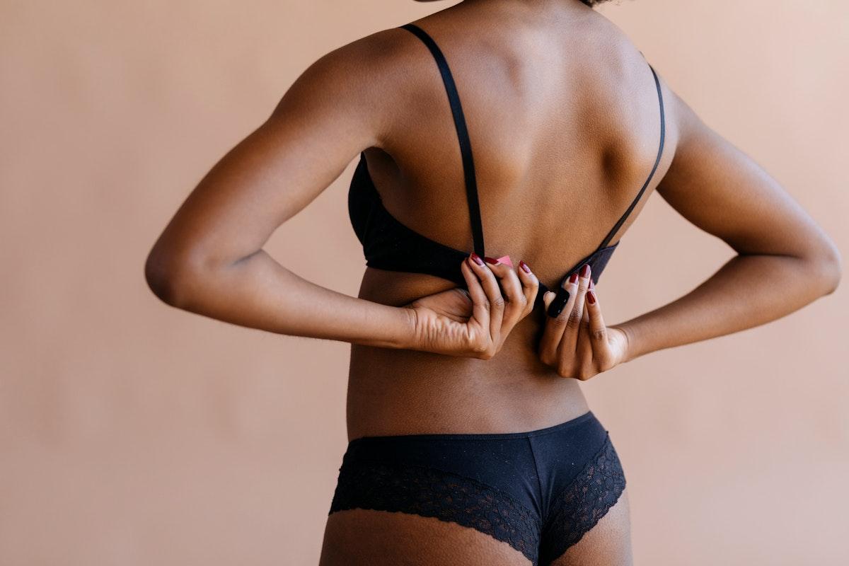 Woman wearing a black bra