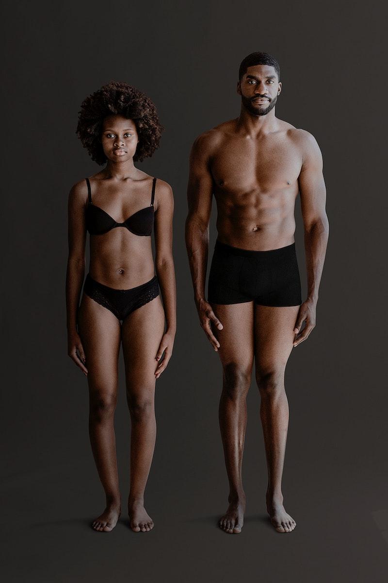Portrait of shirtless black couple standing mockup