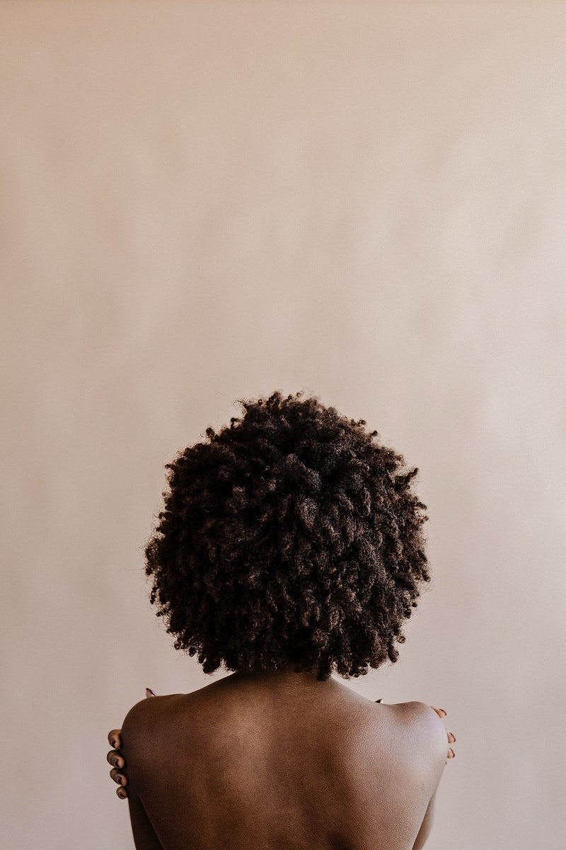 Woman with afro hair social template