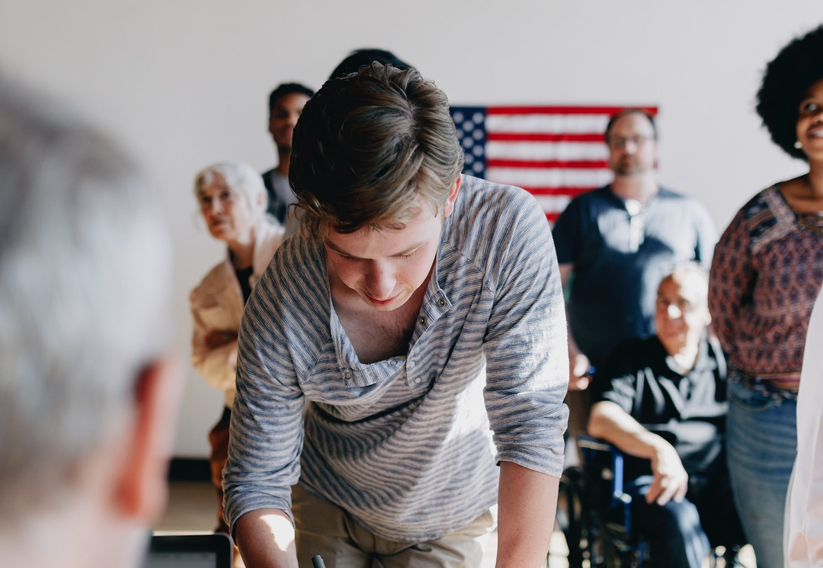American queuing at a polling place