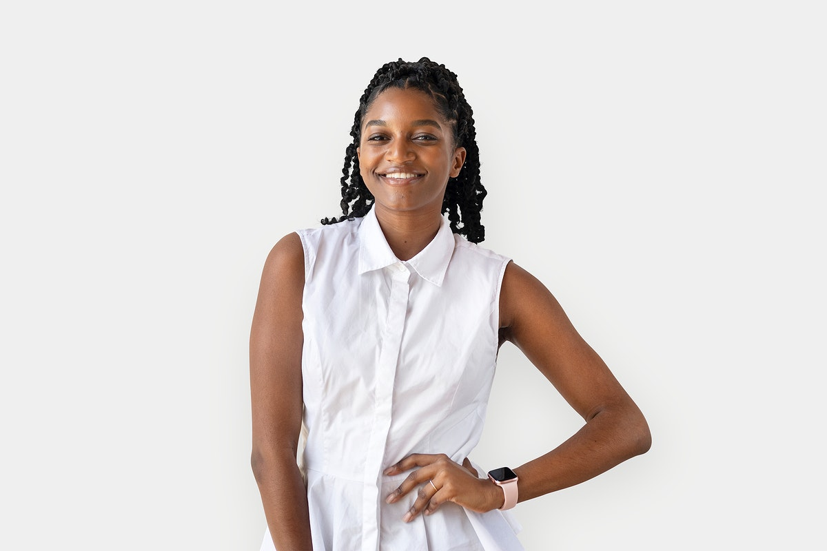 Portrait of a cheerful black lady on white background