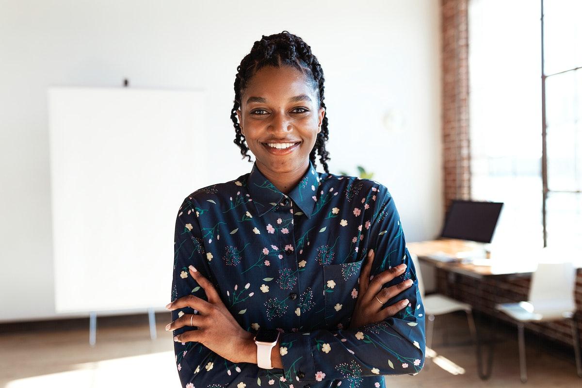 Portrait of a cheerful black lady
