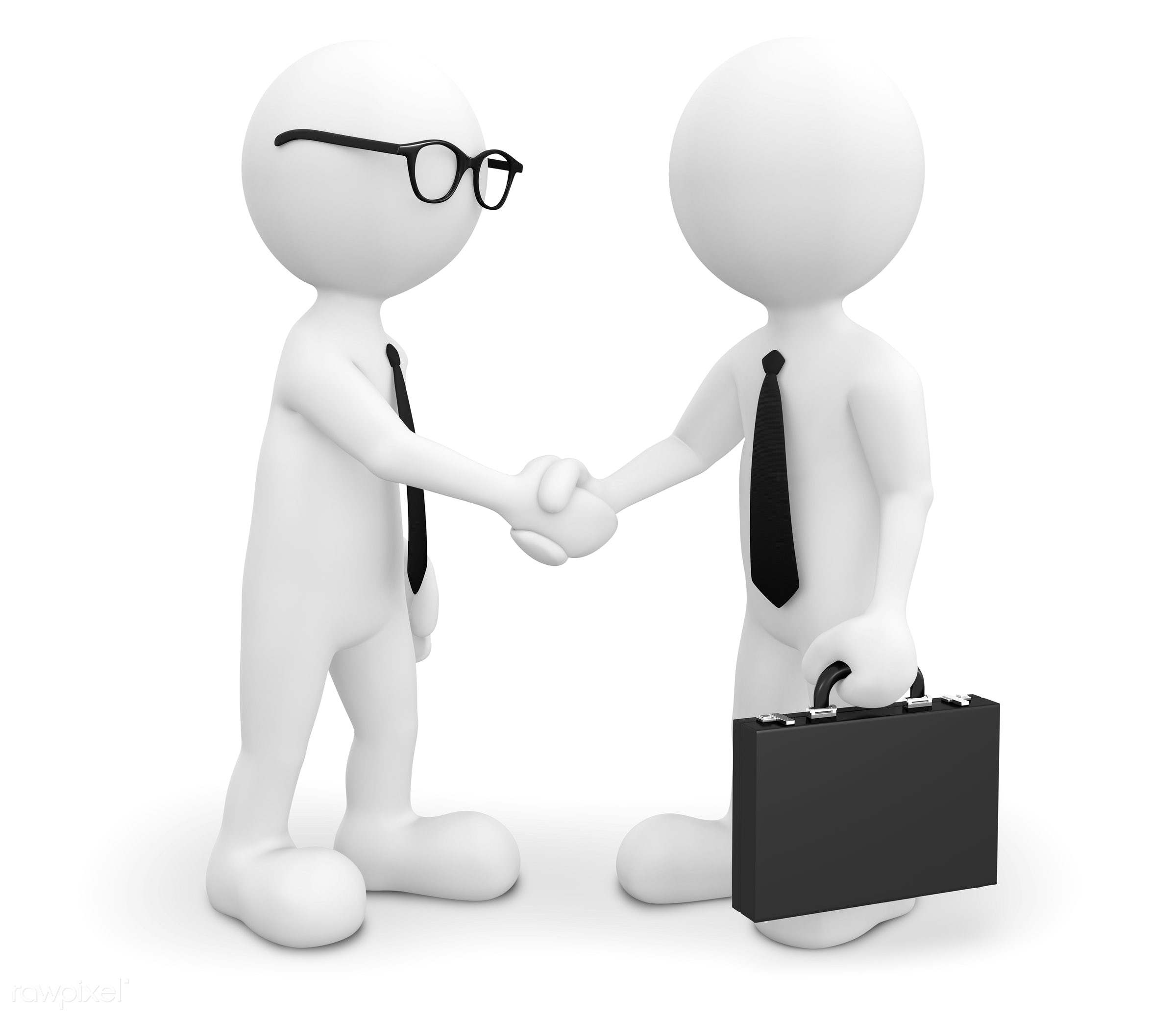 Three dimensional character as businessmen - 3d, 3d man, agree, agreeing, agreement, artificial model, avatar, black and...