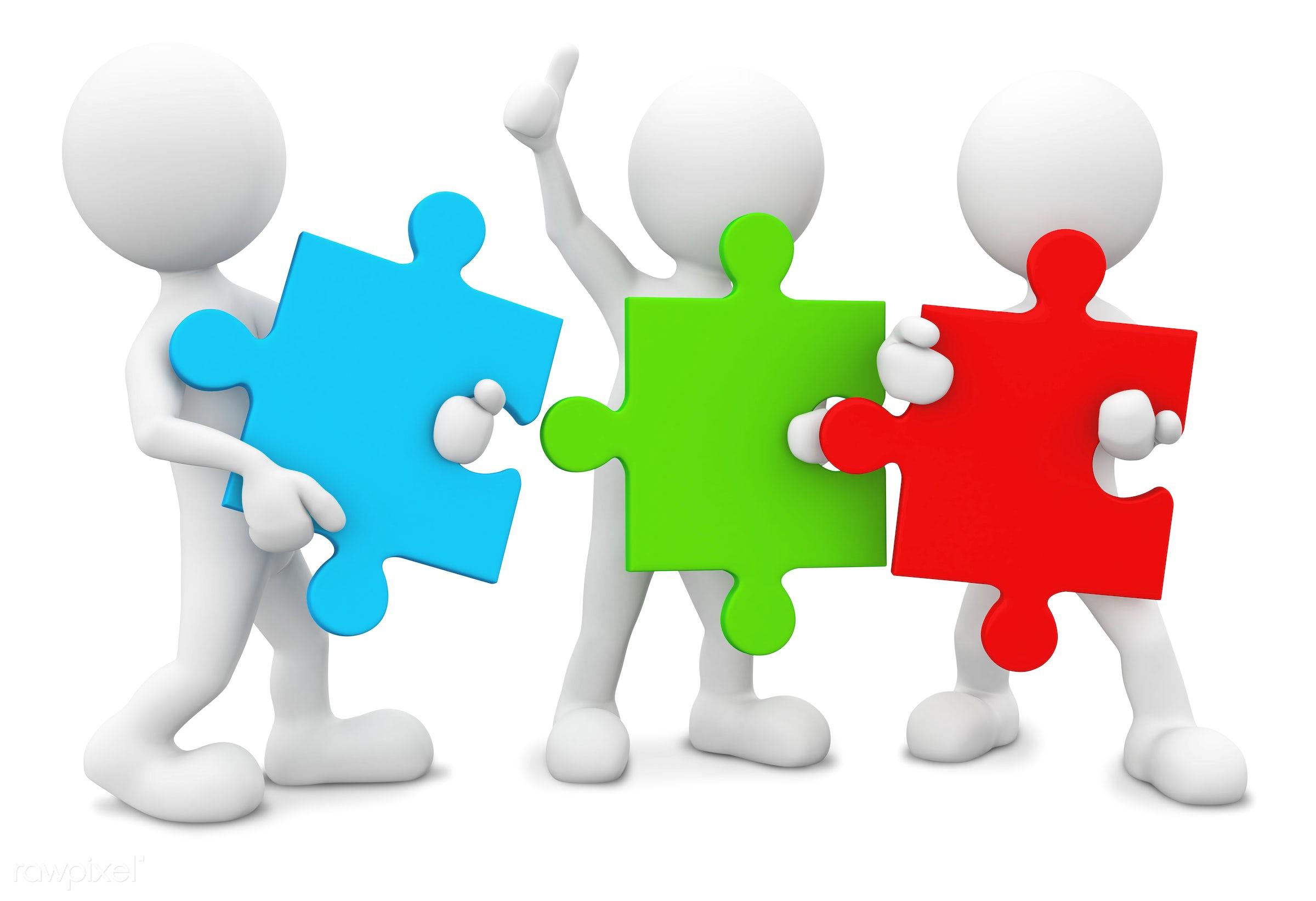 Three dimensional men with jigsaw pieces as teamwork. - 3d, 3d man, blank, brainstorm, businesnee, colorfull jigsaw,...