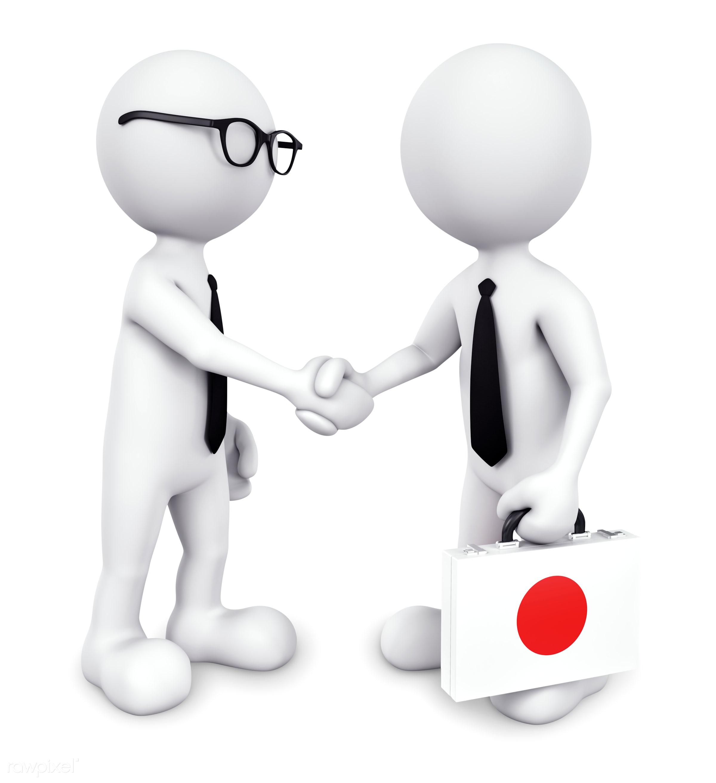 Three dimensional businessman shaking hands together - 3d, achievement, agreement, arrangement, asain, asia, asian,...