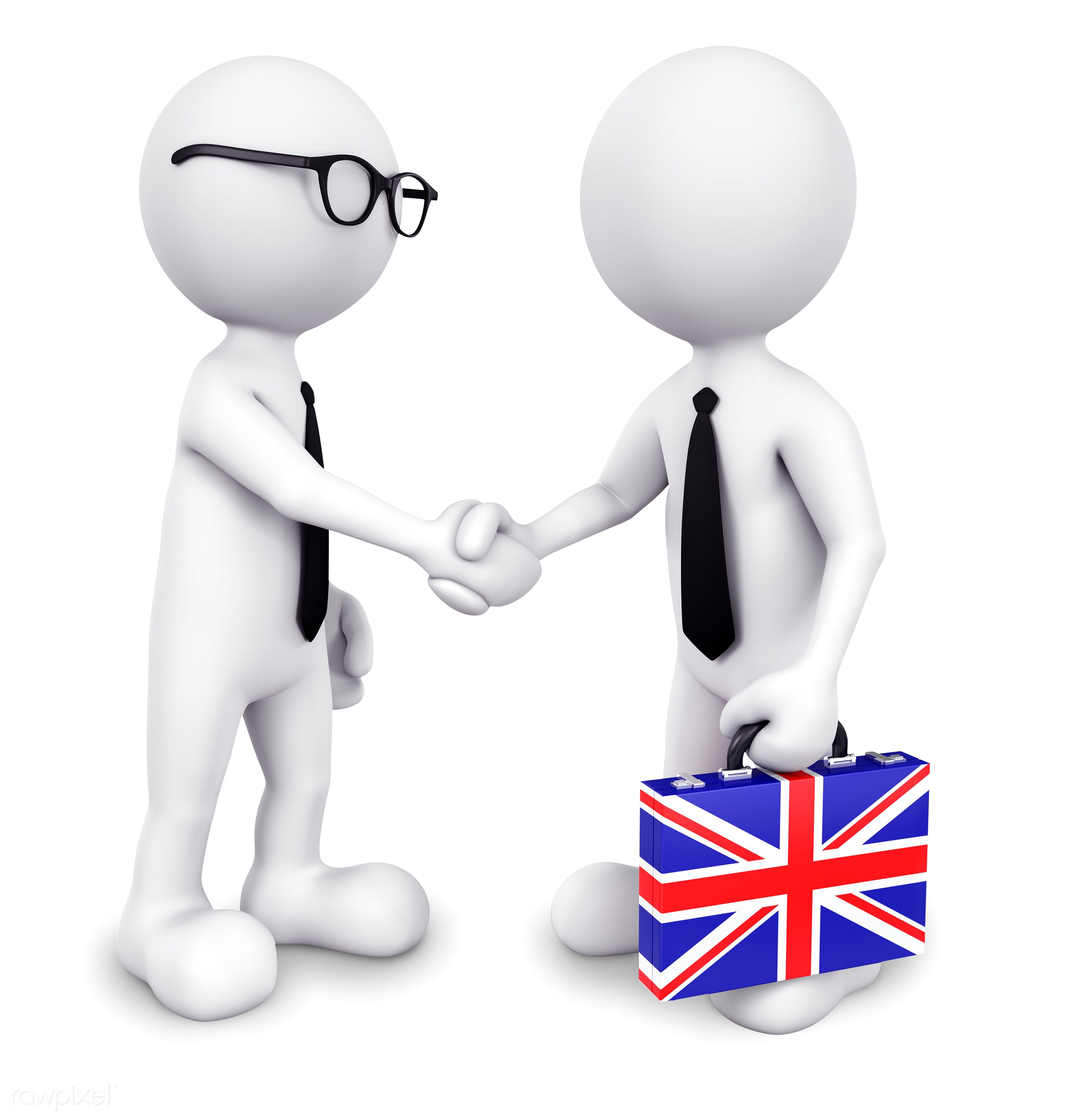 Three dimensional businessman shaking hands together - 3d, achievement, agreement, american culture, american flag,...
