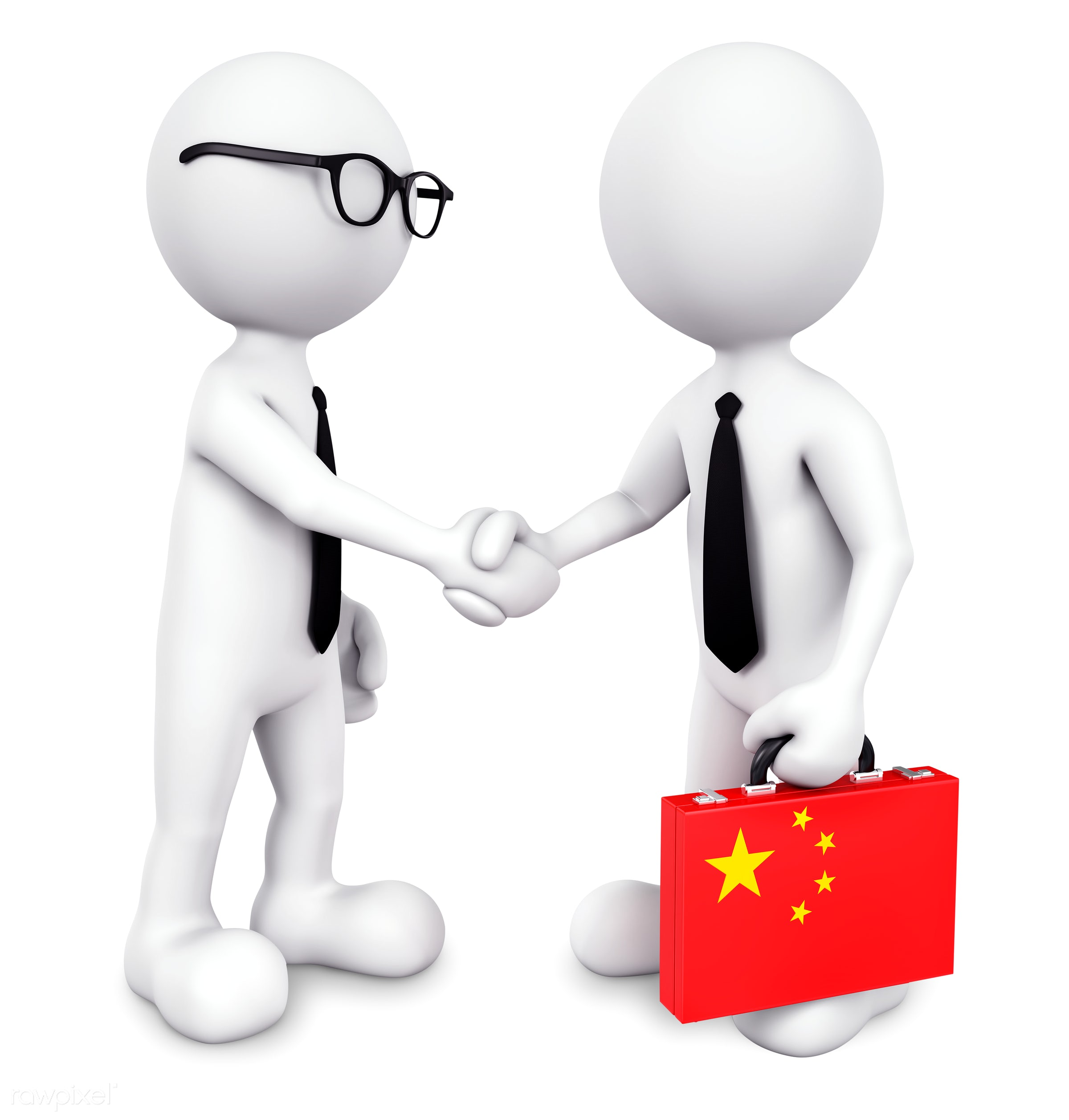 Three dimensional businessman shaking hands together - 3d, achievement, agreement, arrangement, asia, asian, assistance,...