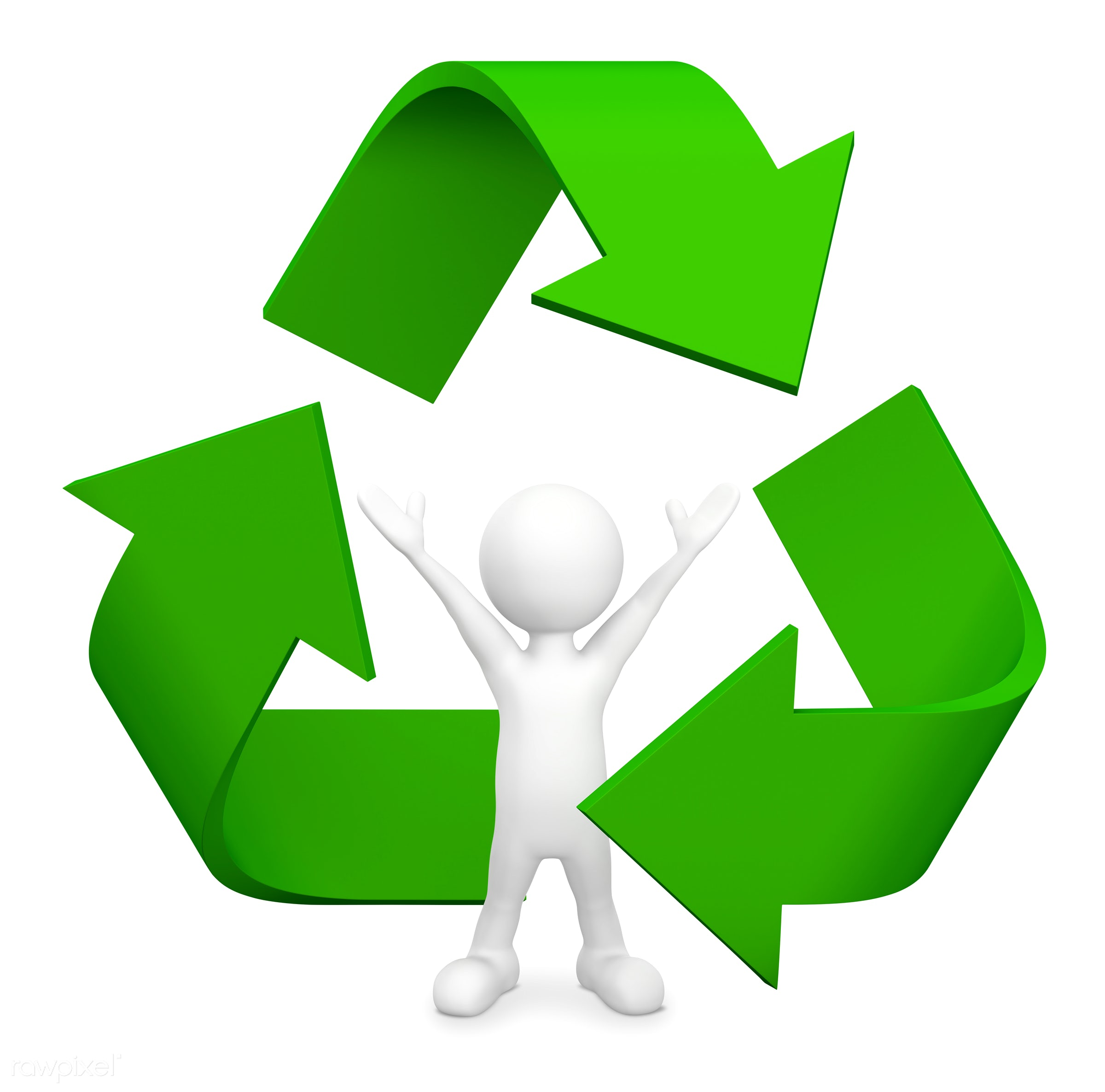 3D man with Recycle symbol. - 3d, 3d man, care, concepts, environment, environmental conservation, environmental friendly,...