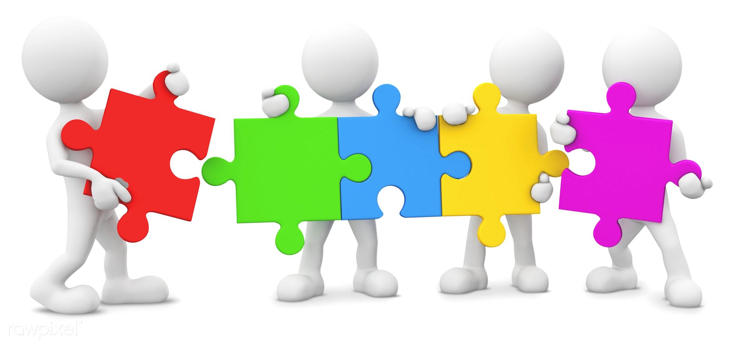 3D men holding jigsaw. - 3d, 3d man, blank, brainstorm, businesnee, colorfull jigsaw, cooperation, copy space, empty, five...