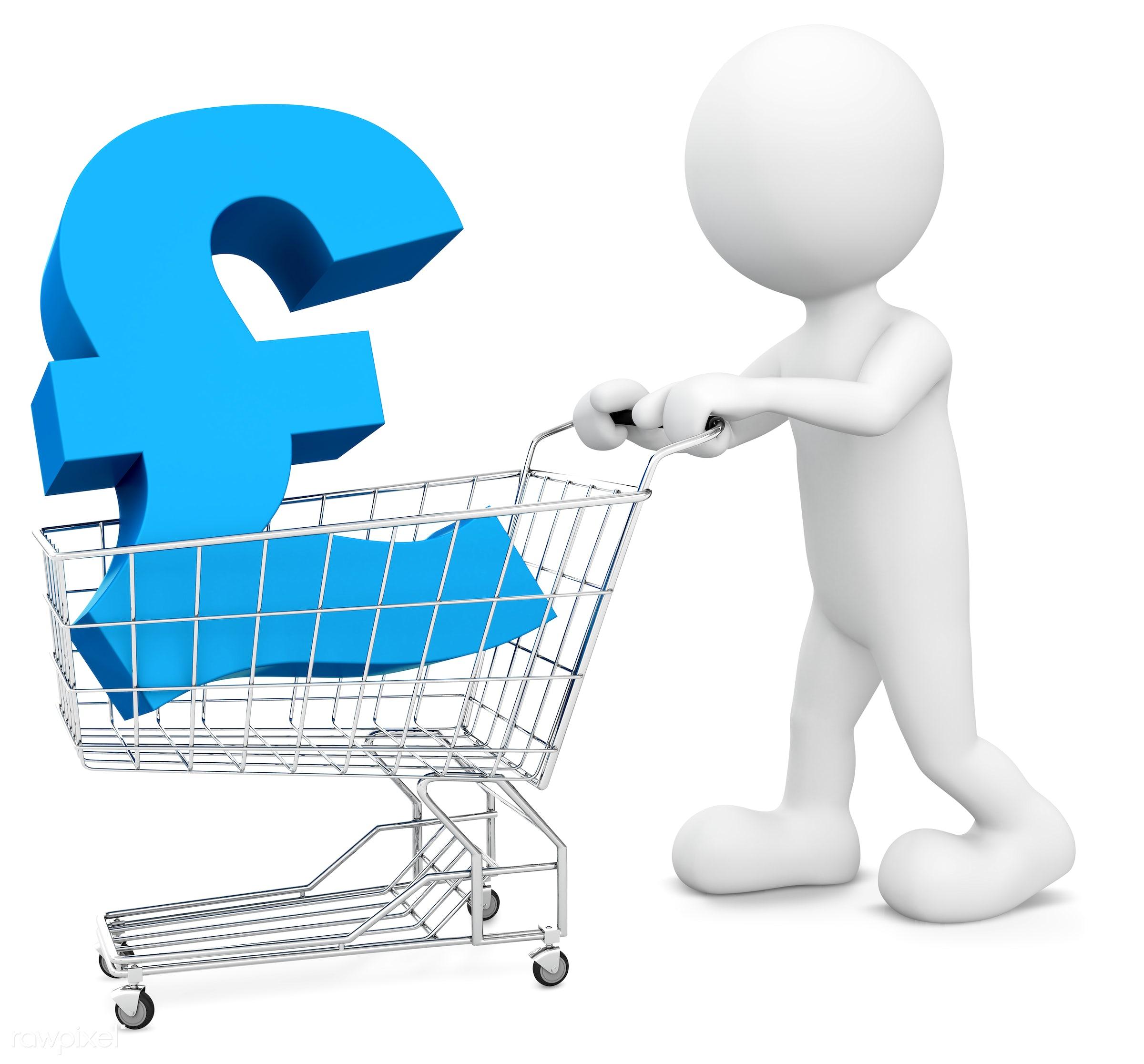 3D man pushing a cart with Pound symbol. - 3d, 3d man, artificial model, avatar, benefits, britain, brittish, buying, cart,...