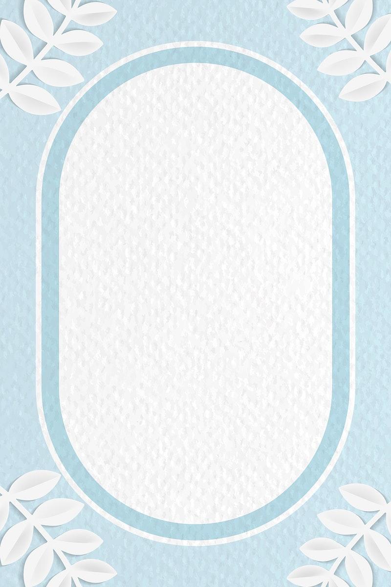Oval frame on botanical patterned vector