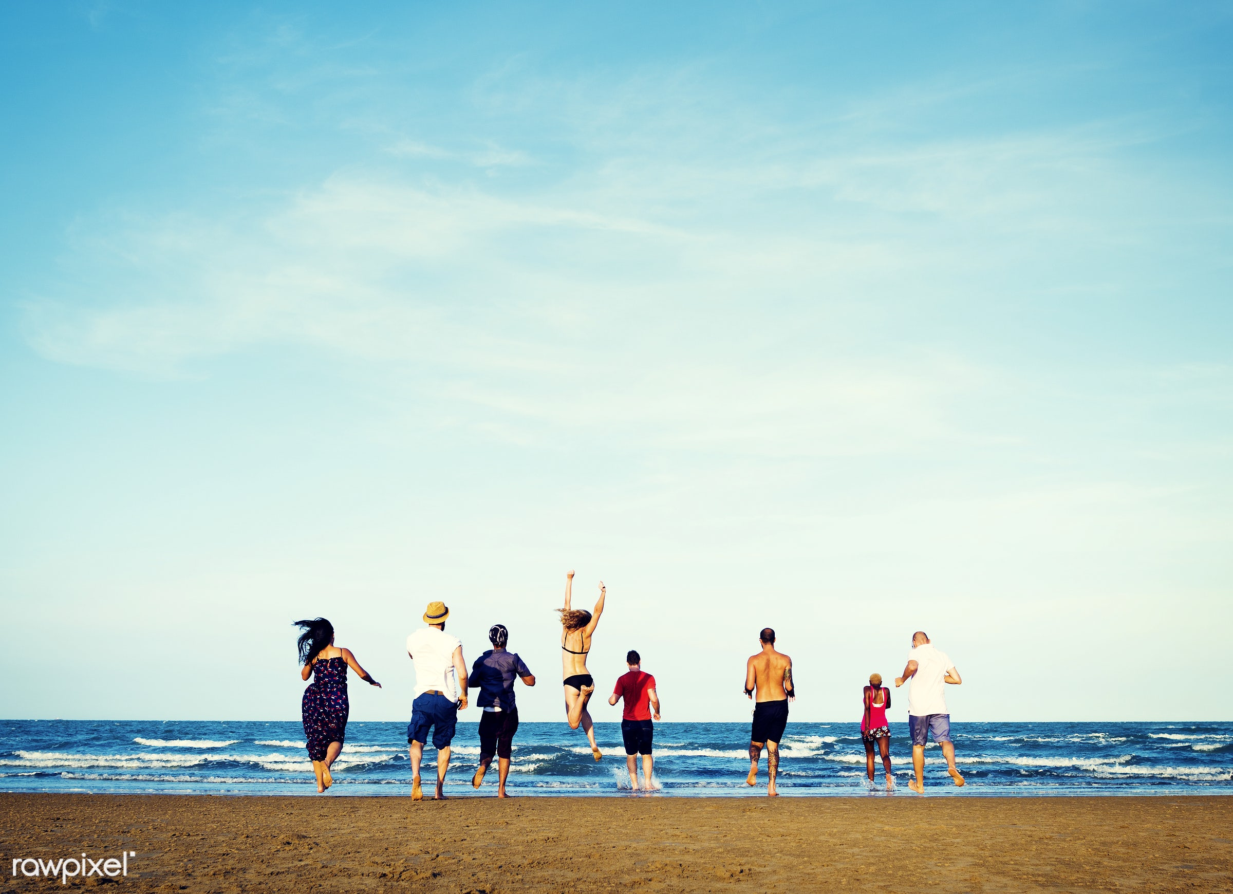 Friends having fun at the beach - rear view, beach, beautiful, bikini, bonding, bright, carefree, chilling, colorful,...