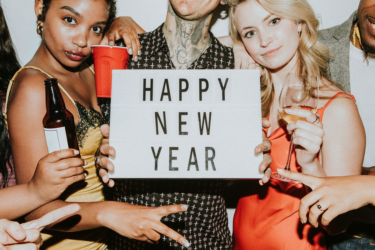 People celebrating at a new years eve party mockup