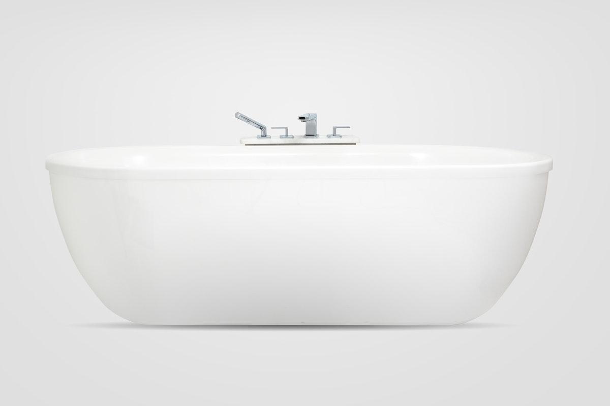Freestanding modern bathtub mockup psd bathroom furniture