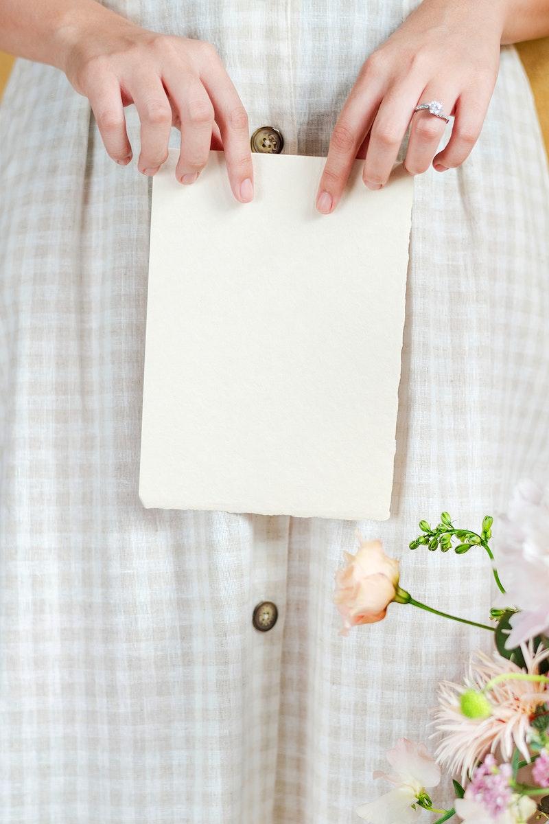 Bride holding a blank card mockup