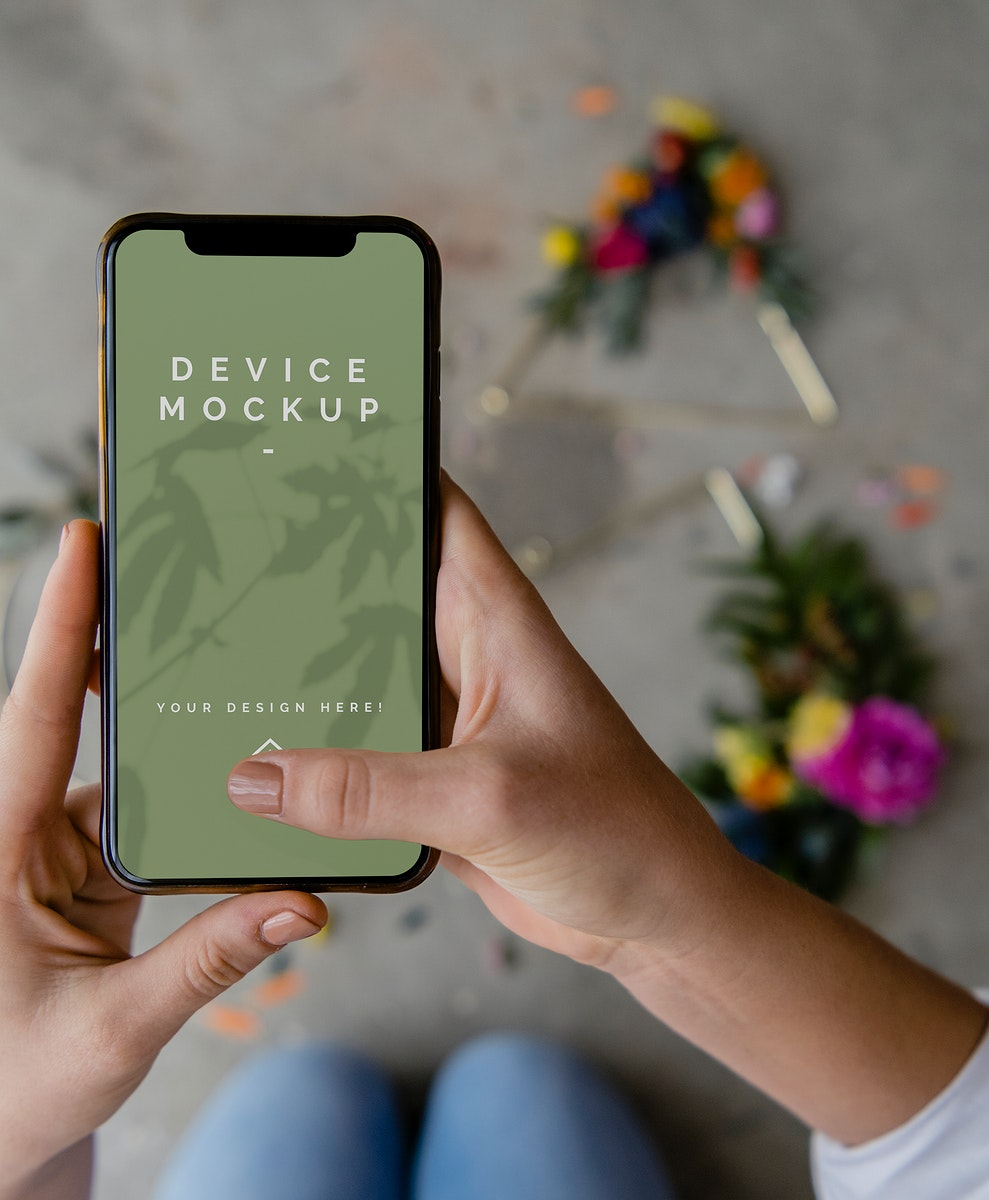 Woman using a mobile screen mockup
