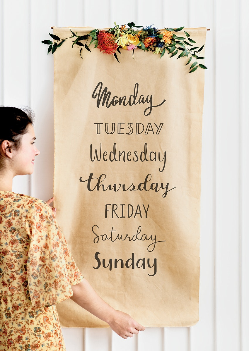 Days of the week on a floral brown paper mockup