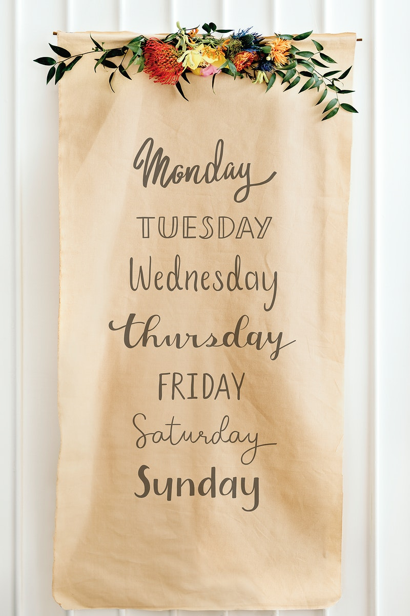Days of the week on a brown paper mockup