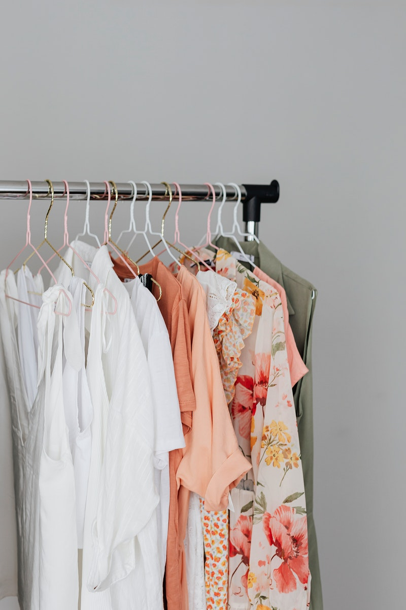 Female clothes hanging on a rack