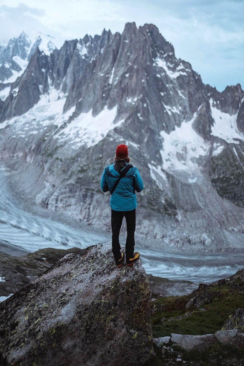 Man watching Chamonix Alps in France