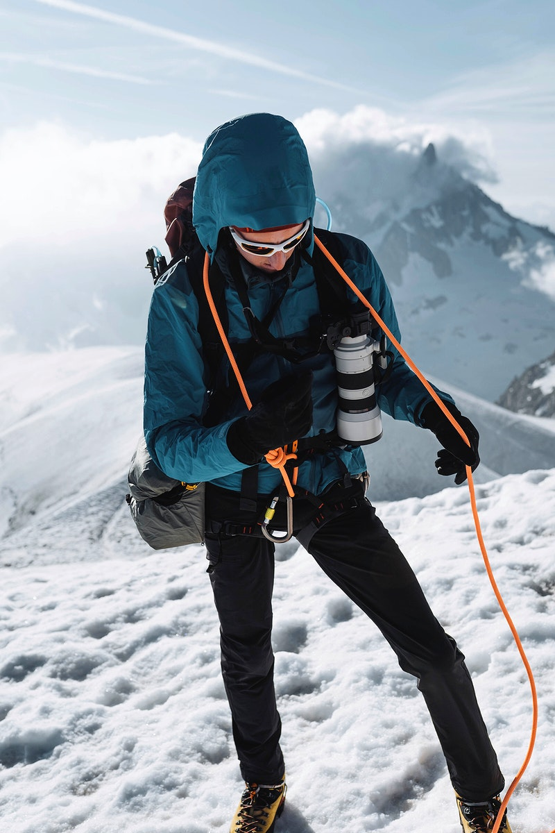 Hiker going up Chamonix Alps in France