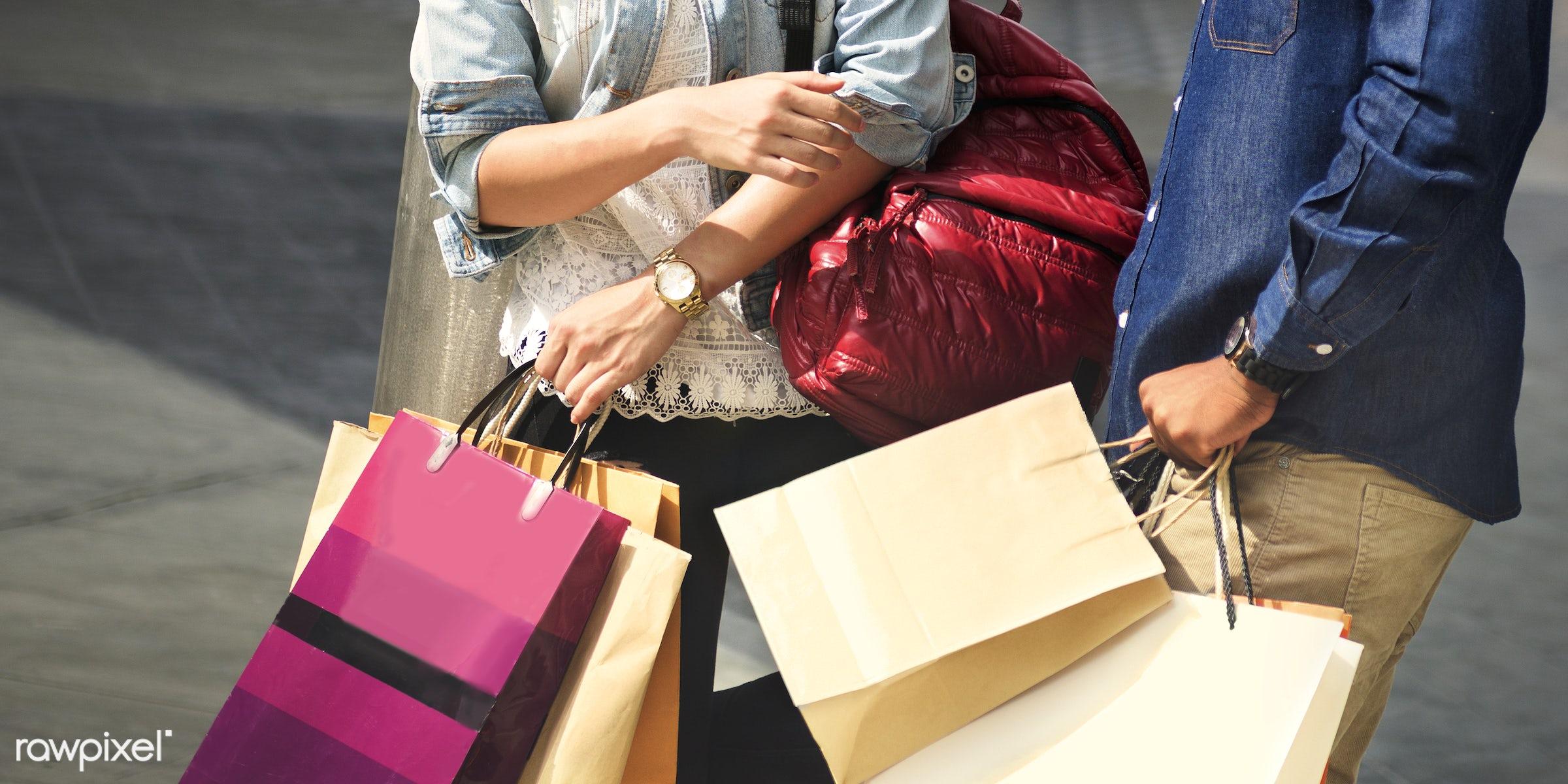 Friends shopping together - shop, shopping, man, woman, happy, fun, enjoy, enjoyment, together, bonding, happiness, friends...